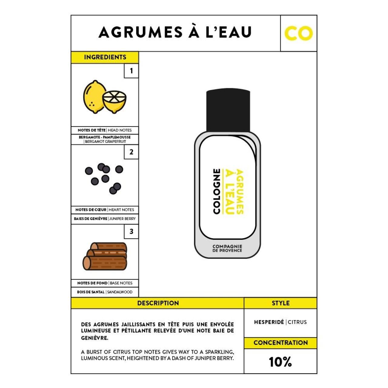 Acqua di Colonia Agrumes à leau 100 ml Compagnie de Provence Italia CPPF0107CO100AE-01