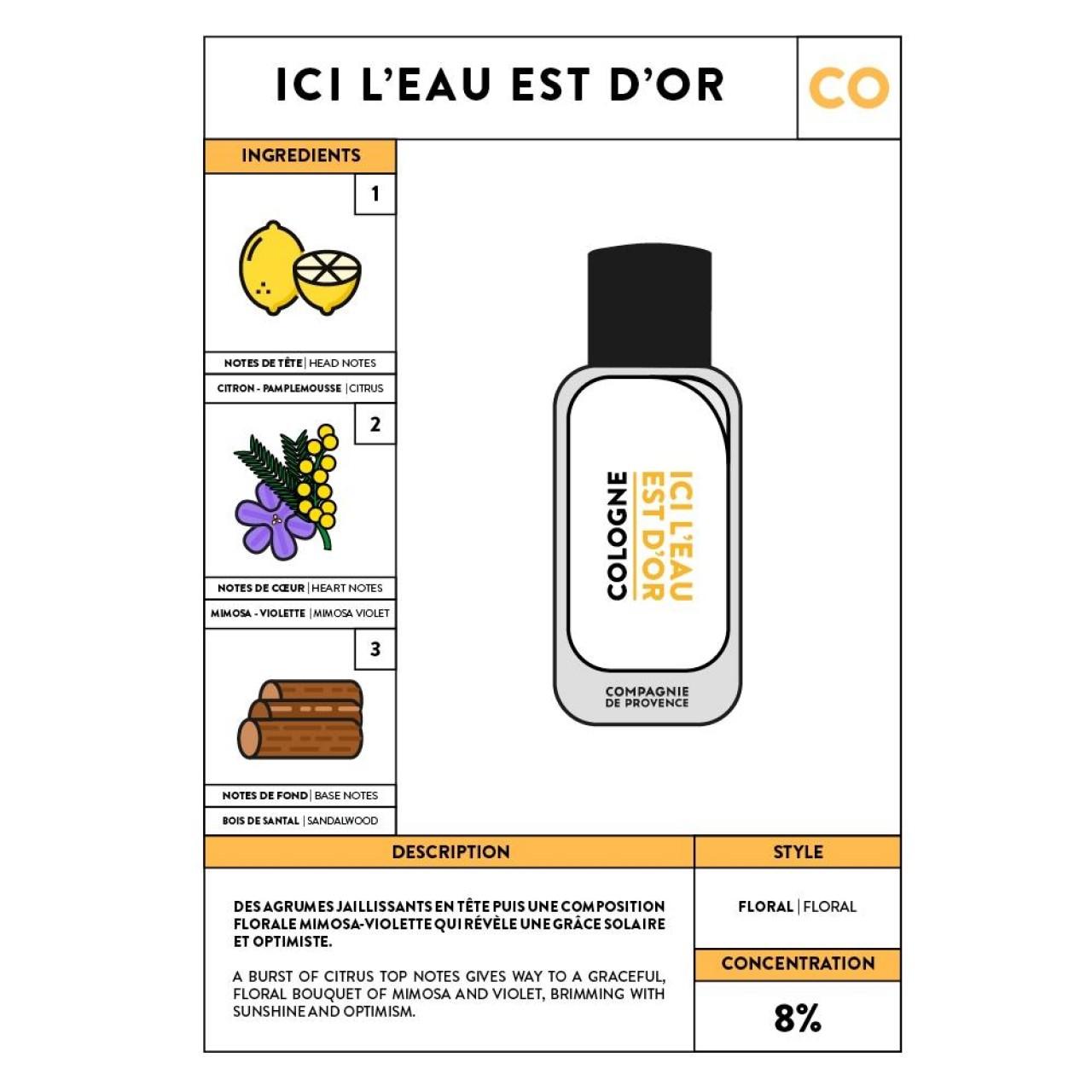 Acqua di Colonia Ici Leau est dOr 100 ml Compagnie de Provence Italia CPPF0107CO100EO-01